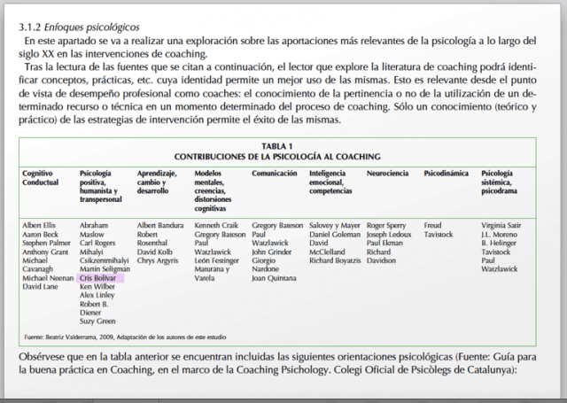 Reconocimiento al Coaching Esencial de Cris Bolívar como una de las aportaciones más importantes del siglo XX de la psicología al coaching. 2013