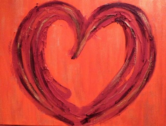 Amor vibrante 70 x 70 acrílico mixto