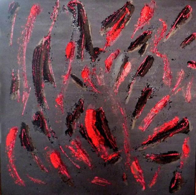 La noche oscura del alma 70 x 70 cm acrílico mixto